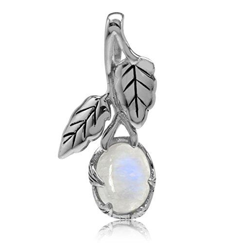 Silvershake Natural Moonstone 925 Sterling Silver Leaf Vintage Inspired Pendant 925 Natural Moonstone Pendant