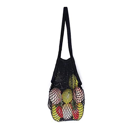 Ahyuan Ecology Reusable Grocery Bags Cotton String Bags Net Shopping Bags Mesh Bags (Long handle Black 1 - Filt Bag