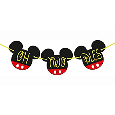 OH Twodles Birthday Mickey Mouse Party Supplies I Oh Twodles Banner Birthday Decorations I Oh Two Dles Mickey Mouse Clubhouse High Chair Banners I 2nd Toodles Mickey Head Cut Outs CardBord - 8 INCH: Home & Kitchen