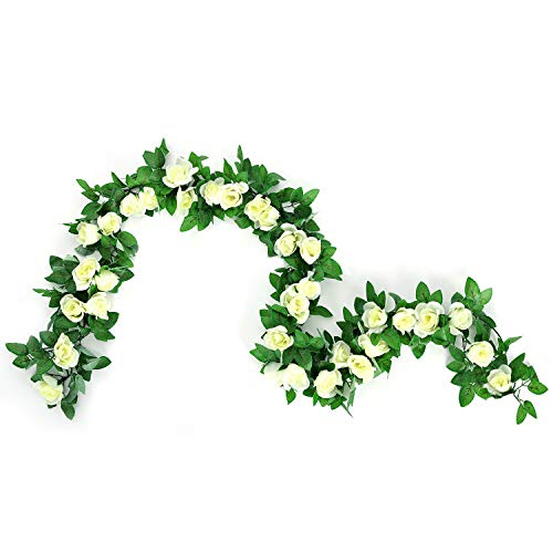 CINOON 2 Pack 6.5 FT Artificial Flowers Rose Vine Plants Hanging Rose Ivy Wedding Garland Greenery Home Hotel Office Party Garden Craft Art Decor (White)