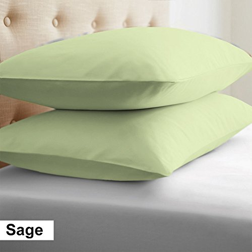 - 500 Thread Count 100% Egyptian Cotton 2 Pcs Euro Shams Solid Pillow Case Pattern (26 x 26 Inch (66cm x 66cm), Sage).