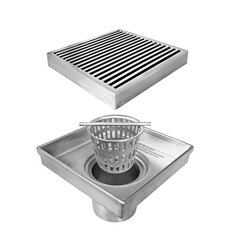 Neodrain Square Shower Drain with Removable Heel Guard Grate, 4-Inch, Brushed 304 Stainless Steel, With WATERMARK&CUPC Certified, Includes Hair - Square Steel Grates