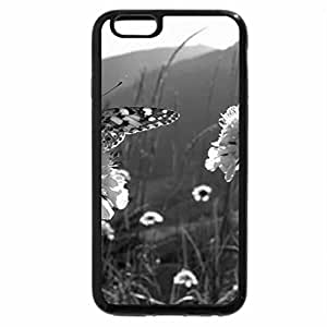 iPhone 6S Plus Case, iPhone 6 Plus Case (Black & White) - BUTTERFLY ON CLOVER