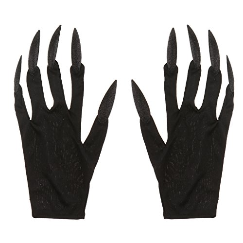 B Blesiya Scary Devil Woman Gloves with Long Glitter Fingernails Halloween Carnival Fancy Dress - Black, as described -