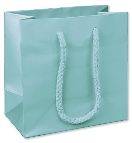 Premium Aqua Matte Euro-Shoppers, 6 1/2 x 3 1/2 x 6 1/2'' (200 Bags) - BOWS-244M-060306-89 by Miller Supply Inc