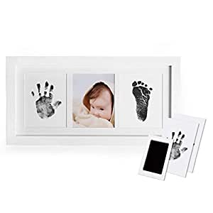 DaZone Baby Handprint and Footprint Photo Frame Kit for Newborn Boys and Girls, Babyprints Paper and Clean Touch Ink Pad to Create Baby's Prints, Amazing Baby Shower Gifts