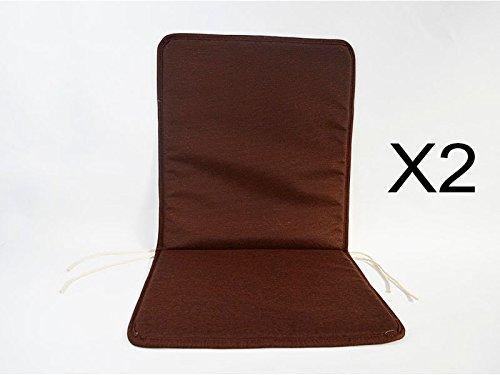 Catay Home Pack de 2 Cojines con Respaldo Marrones para Silla de Exterior terraza Jard/ín Balc/ón y Tama/ño de 80x40 Cm