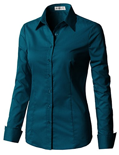 CLOVERY Women's Long Sleeve Cotton Spandex Button Down Shirt Teal XS