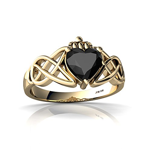 14kt Yellow Gold Black Onyx 6mm Heart Claddagh Celtic Knot Ring - Size 4 ()