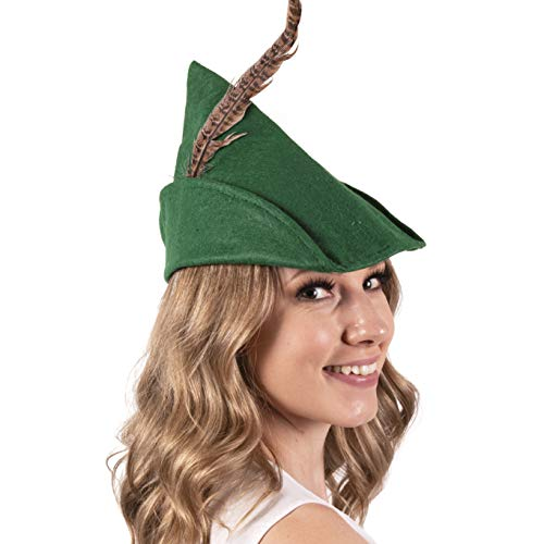 Narwhal Novelties Green Felt Robin Hood Hat with Removable Feather, One Size, Unisex