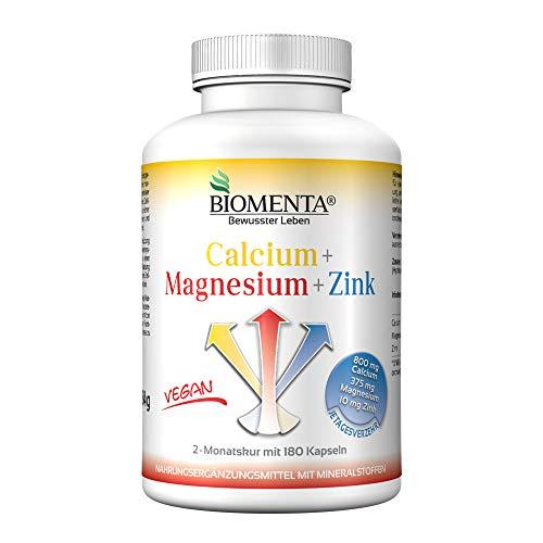 BIOMENTA Calcium + Magnesium + Zink – vegan - Mineralstoffkomplex hochdosiert mit 100% NRV - 2 Monatskur - 180 Mineralstoff-Kapseln – Mineralstoffe und Spurenelemente, Sport Mineralien, Nahrungsergänz