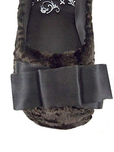 Brand New Ex Luxury Brand Brown Faur Fur Bow Detail Ballerina Ballet Slippers UK 4-8 BohuCH9g
