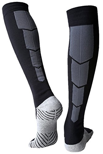 Huathy Women Men's Professional Compression Football Socks Cushioned Graduated Support Calf Stockings (Shoe:6-10, Black) (Argyle Lace)