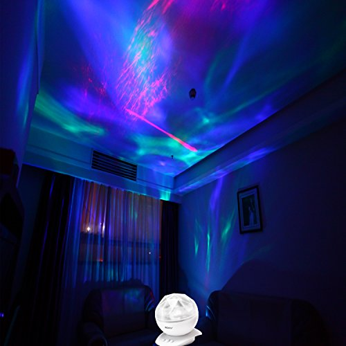 Soothing Aurora Night Light Projector With 8 Lighting Mode Timer Build In Speaker Bedside Lamp Mood For Baby Nursery Living Room