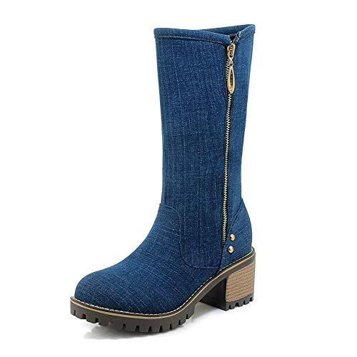 Boots Mid Dark De 34 Size Dropship Invierno Zip Ocio Plus Denim Otoño Hoesczs Blue Mujer Gruesos Tacones 43 Calf Zapatos Up pgxzWH