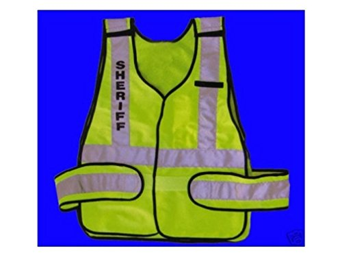 Halloween Costumes Iseas (SHERIFF BRIGHT LIME GREEN REFLECTIVE TRAFFIC SAFETY VEST ANSI/ISEA FITS ALL)