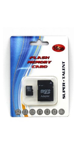 Super Talent 16 GB MicroSDHC Flash Memory with SD Adapter MSD16GST/R