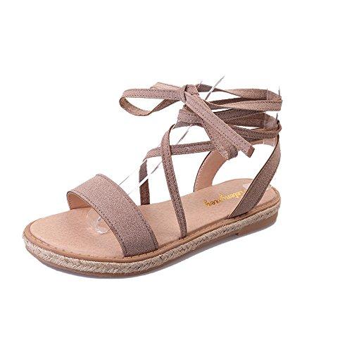 Sandalias Amazing Antideslizantes de la Correa Piso Femenino del Verano con los Zapatos de la Playa de Las Vacaciones de Roma (Color : Beige, Tamaño : EU38/UK5.5/CN38) Beige