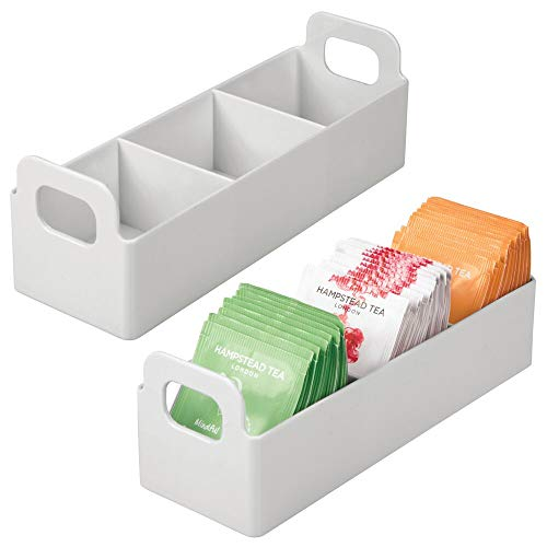 mDesign Plastic Kitchen Pantry, Medicine Cabinet, Countertop Organizer Storage Station Tea Caddy Holder - Holds Beverage and Tea Bags, Sweetener, Individual Packet Condiments - 9