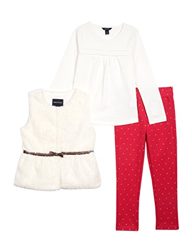 Nautica Little Girls Faux Fur Vest, Knit Top & Glitter Jegging, cream, 4