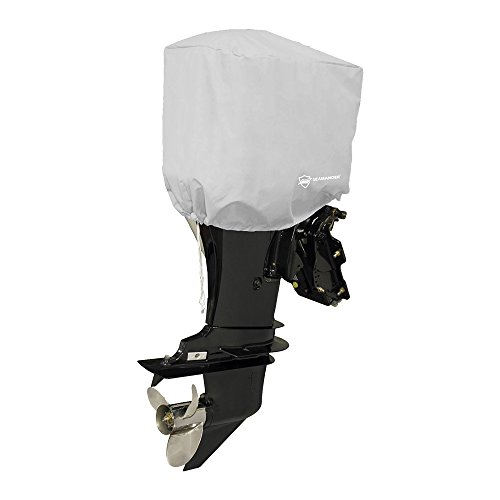 Seamander Waterproof Boat Outboard Motor Hood Cover 10-200 HP Engines Cover (Grey, Fits up to 200 ()