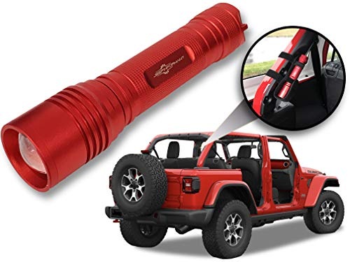 Jeep Wrangler Accessories Firecracker Red (Rubicon Red) Colored LED Flashlight with Roll Bar Holster. Holster fits Jeep Jk rollbar also. Color match is for 2018-2019 Jeep JL Accessories, 1000 ()