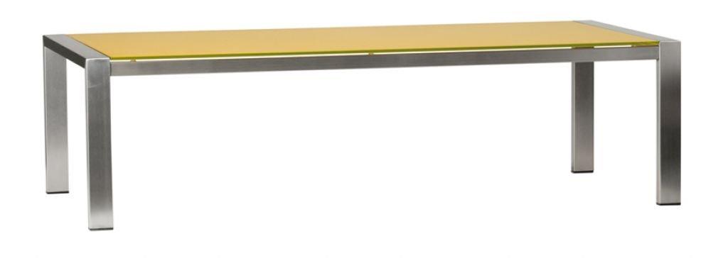 Bony Design Couchtisch Edelstahl mit Glas - 36 × 130 × 80