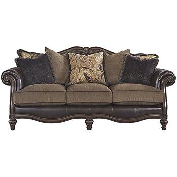 Ashley Furniture Signature Design   Winnsboro Traditional Style Faux  Leather Sofa   7 Back Pillows