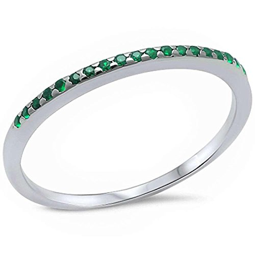 Blue Apple Co. 1.5mm Half Eternity Wedding Band Ring 925 Sterling Silver Simulated Green Emerald, Size-8