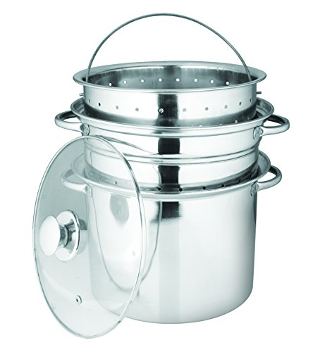 . Stainless Steel 4-Piece Pasta Cooker Steamer with Encapsulated Bottom, - Bottom Encapsulated