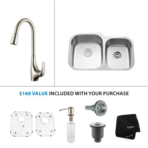 Kraus KHU100-32-KPF1612-KSD30SS 32'' Undermount Single Bowl Stainless Steel Kitchen Sink with Stainless Steel Finish Kitchen Faucet and Soap Dispenser by Kraus