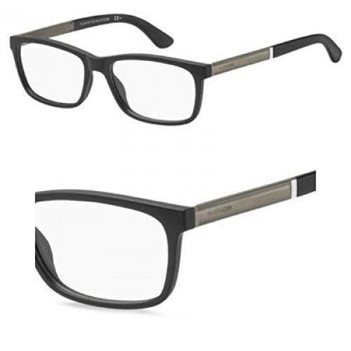 Tommy Hilfiger Plastic Rectangular Eyeglasses 55 0003 Matte Black