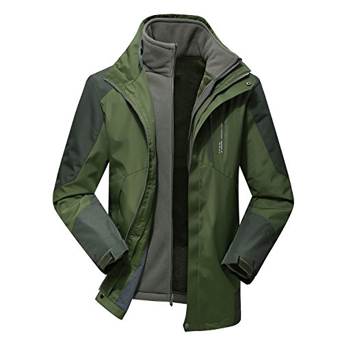 Varsity Dance Costumes - ELEPHANT DANCING Men's Three in One Outdoor Jacket Raincoat Waterproof Sportswear, Green