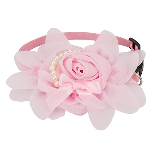 Pet Soft Cute Rose Flower Puppy Collar for Small Dogs Pink, Adjustable (M)