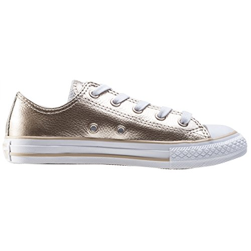 Converse Chuck Taylor All Star Metallic Junior Light Gold Leather Trainers Light Gold