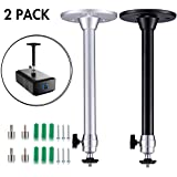 Yizerel 2 Pack Mini Ceiling Projector Mount Set, Adjustable Drop Ceiling Wall Projector Mounts Tubes with 360 Degrees Rotatable Heads, 3 Sizes of Mounting Heads and Screws Accessory
