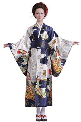 Soojun Women's Elegant Traditional Japanese Kimono Yukata Costumes Navy (Yukata Costume)
