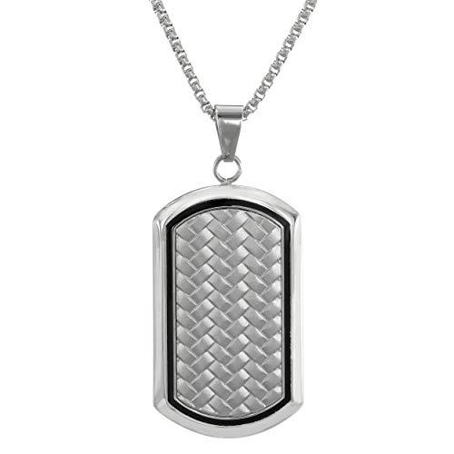 (Lavari - Stainless Steel Textured Dog Tag Pendant with Black Resin 24