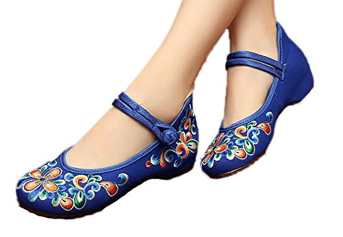 AvaCostume Women's Chinese Embroidery Casual Mary Jane Travel Walking Shoes Blue -