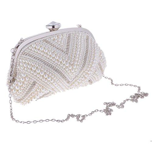 Sharplace Borsa Pochette Donna A Catena Strass Perla Cristallo Da Sera Bianco Ballo Festa Anniversario