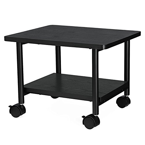 Shelf Printer (SONGMICS Under Desk Printer Stand and Mobile Machine Cart with Shelf Heavy Duty Storage Rack for Office Home Black UOPS02B)