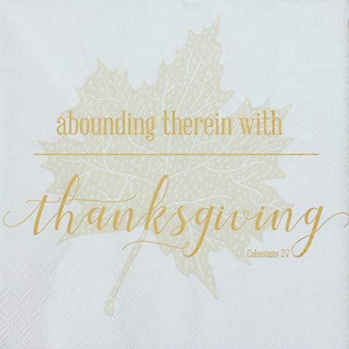 Thanksgiving Paper Napkin Package with Scripture, Fall Paper Tableware, Religious 20-Count Package of Thanksgiving Napkins, Pearls of Parchment