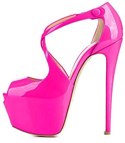 Calaier Mujer CaAmerican Tacón De Aguja 16CM Sintético Botón Sandalias de vestir Zapatos Rojo