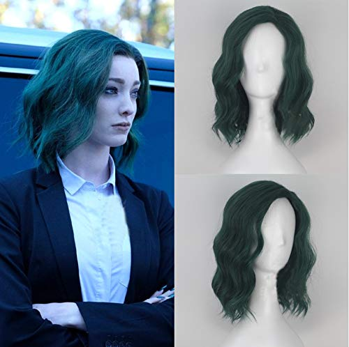 Blue Bird The Gifted Lorna Dane Polaris Hairstyle Cosplay Wig for Women Short Green Curly Wavy Costume Party Wig with Side Part Heat Resistant Synthetic Hair Qingdao taixinbokun Co. Ltd