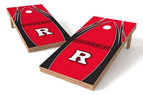 (Wild Sports NCAA College Rutgers Scarlet Knights 2' x 4' V Logo Authentic Cornhole Game Set)