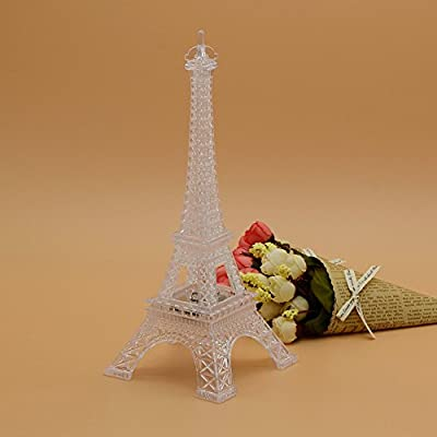LED Light Up Eiffel Tower, Built-in Color Changing Night Light, Battery Included Desk Lamp Centerpiece Cake Topper Decoration Gift
