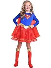 Disfraz de Warner Bros Supergirl clásico para niñas y niños (Edad: 8-10 años)