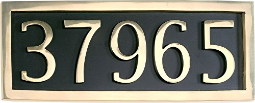 Comfort House Address Plaque Personalized with 5 Solid Brass Numbers. Custom House Number Sign P1025sb.