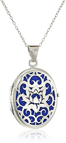 Sterling Silver Italian Lotus Flower Locket Necklace, 18
