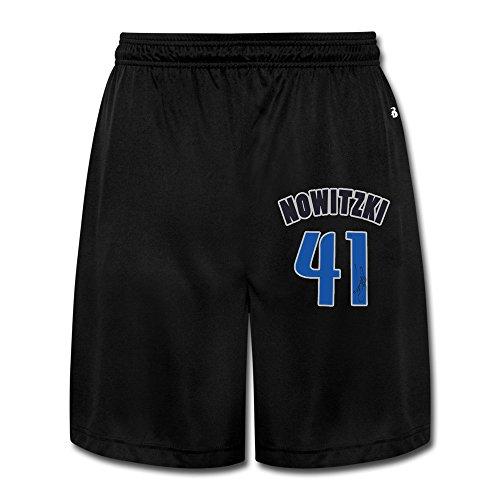 YQUE56 Men's Dirk 41# Nowitzki Basketball Player Shorts Jogging Color Black Size XL